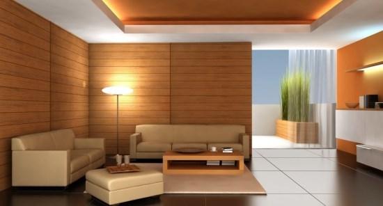 Desain Interior Ruang Tamu sederhana dengan sofa warna coklat