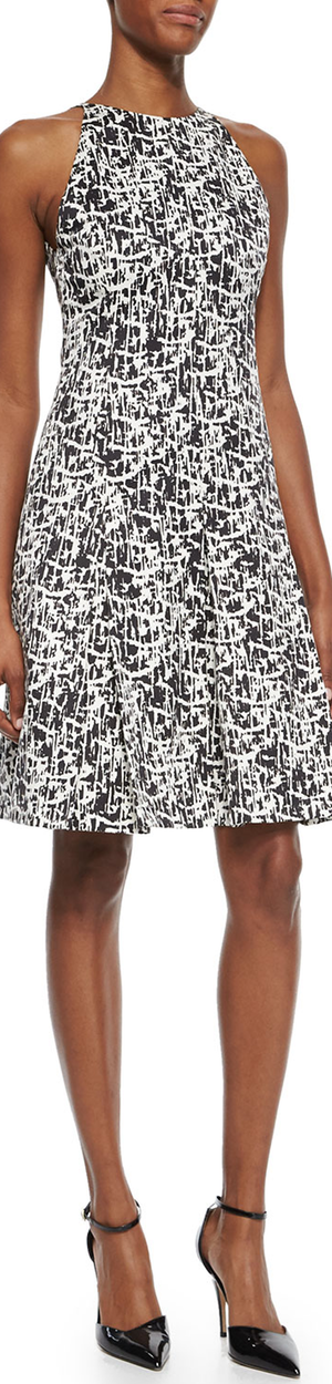 Jason Wu Pleated Printed Silk Flounce Dress black/chalk