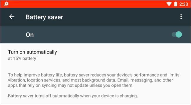 Attivazione modalità risparmio energia Android