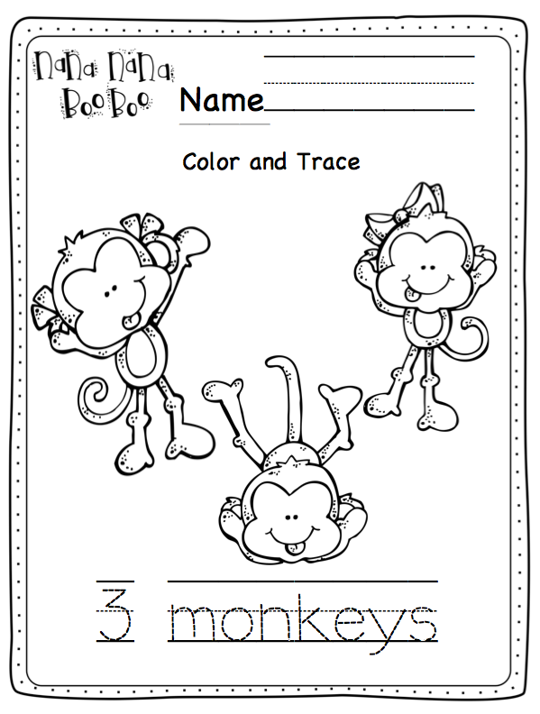 August 2014 preschool printables for Five little monkeys jumping on the bed coloring pages