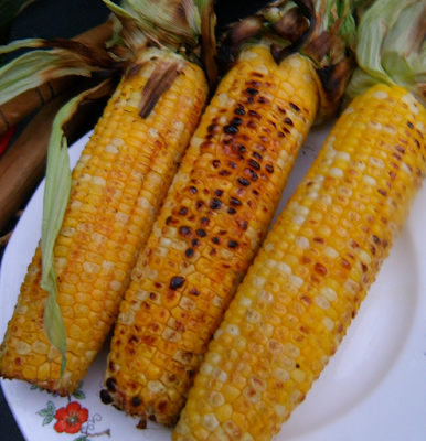 Plate of grilled corn