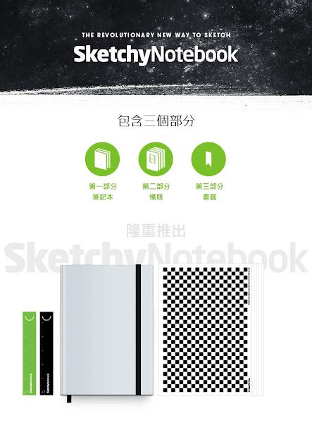 (圖說:SketchyNotebook三大元素。圖片來源:SketchyNotebook。)