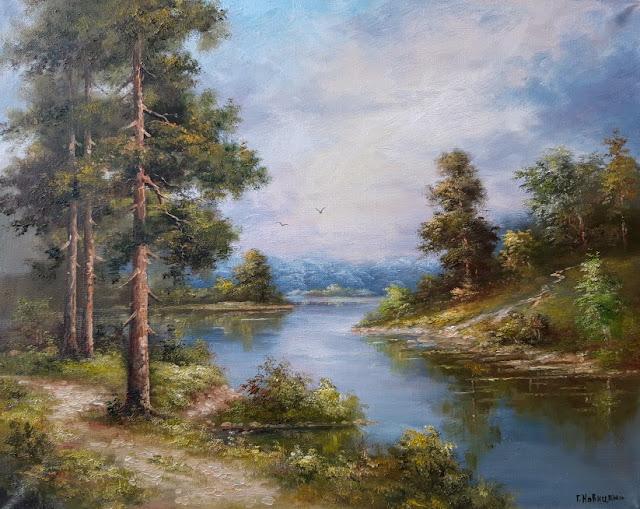 Тропа у сосен вдоль реки, холст, масло