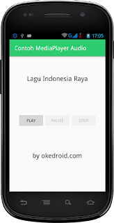 Hasil tampilan Aplikasi Media Player Audio sebelum di Play