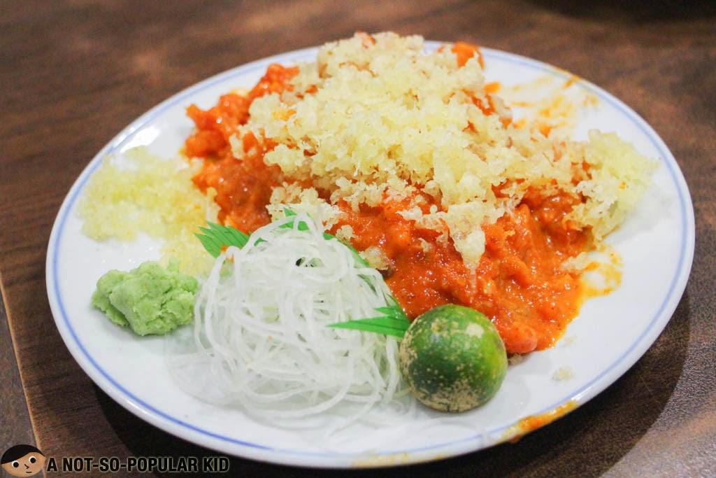 Nihonbashi Tei's famous Spicy Toro Sashimi