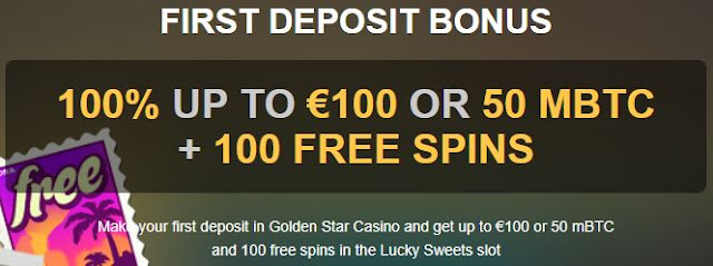 Bonuses in bitcoin and free spins at Golden Star