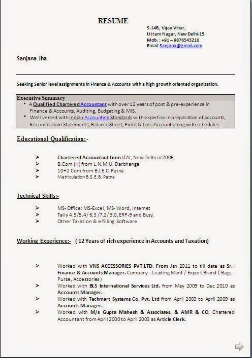 PGA Sample Resume GM CV Resume Cover Letter Management Accounting JIT  Inventory And Marketing
