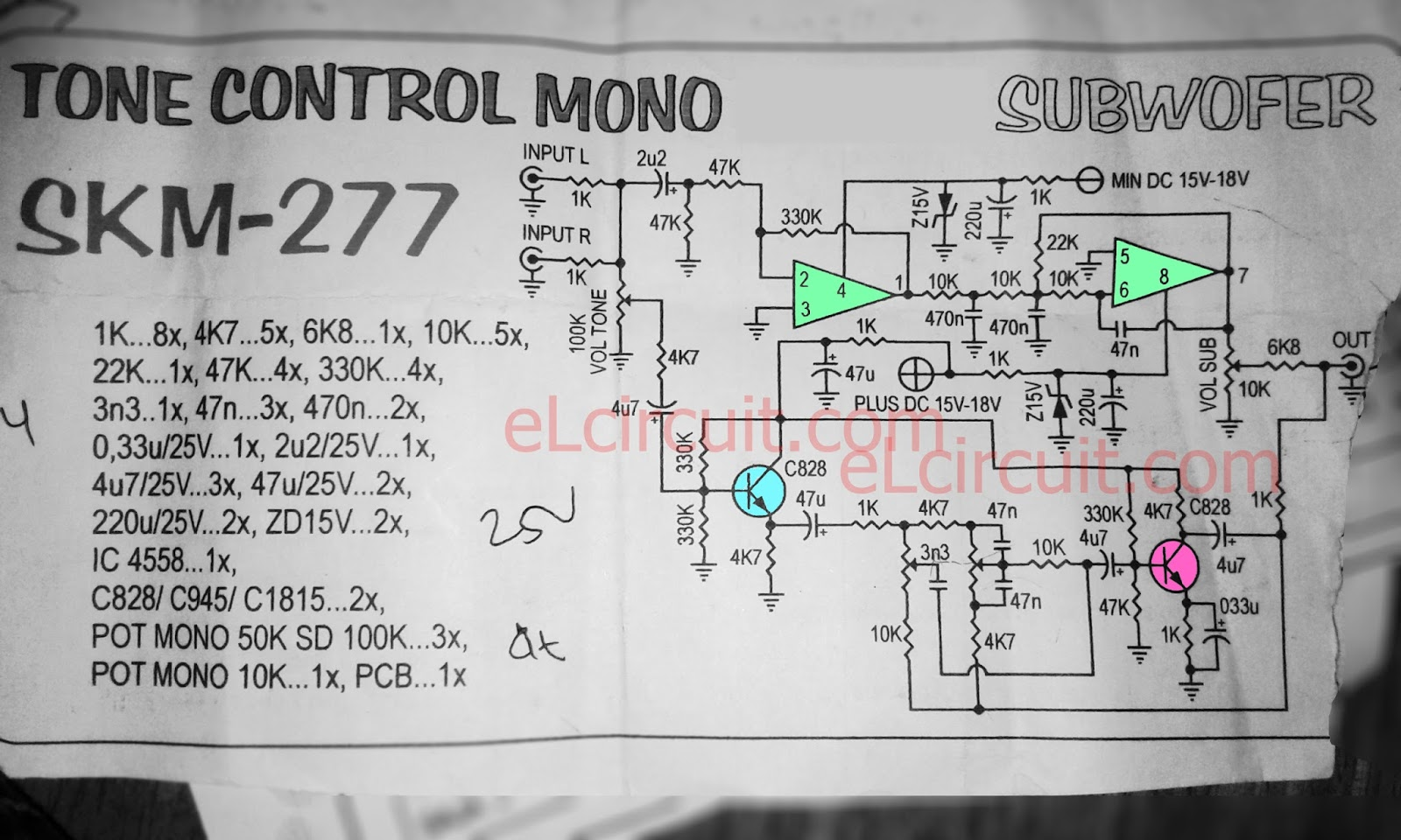 Tone Control C828 With Subwoofer Electronic Circuit