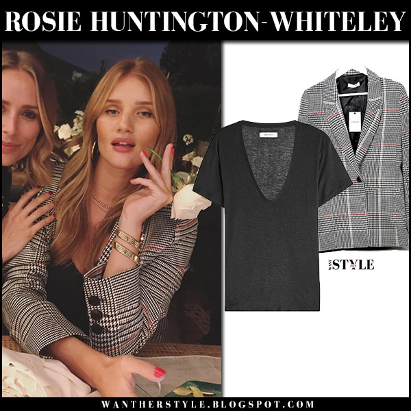 rosie huntington whiteley in black and white blazer and black tee i want her style what. Black Bedroom Furniture Sets. Home Design Ideas