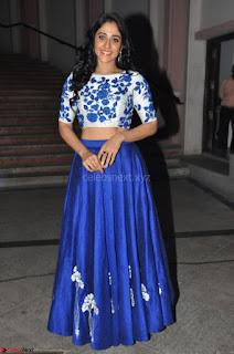 Regina Casandra in Stunning White Embroidery Crop Top Choli and Blue Ghagra at Santosham awards 2017 curtain raiser press meet 02.08.2017 010.JPG