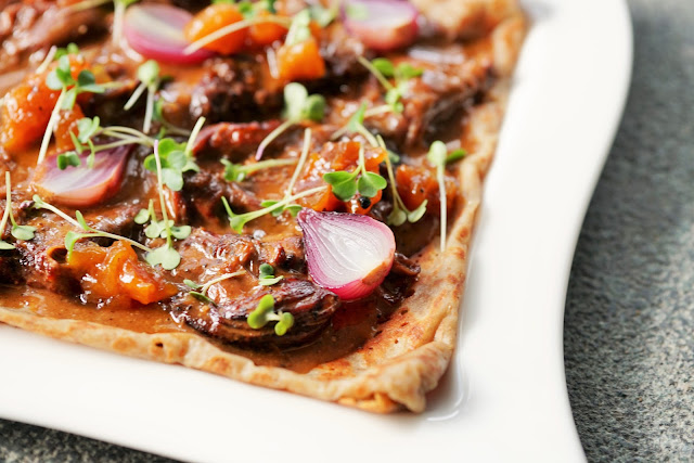 braised lamb and apricot galette