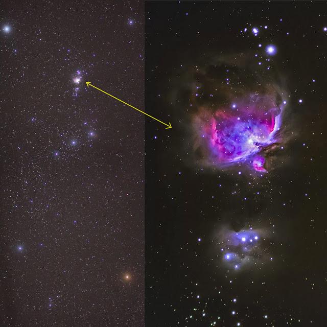 Nebulosa de Orion - binóculos versus fotografia de longa exposição