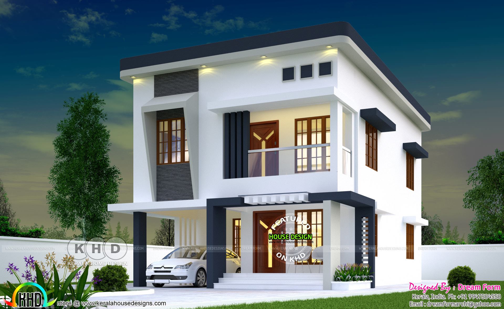 1720 square feet 3 bedroom modern flat roof house - Kerala ...