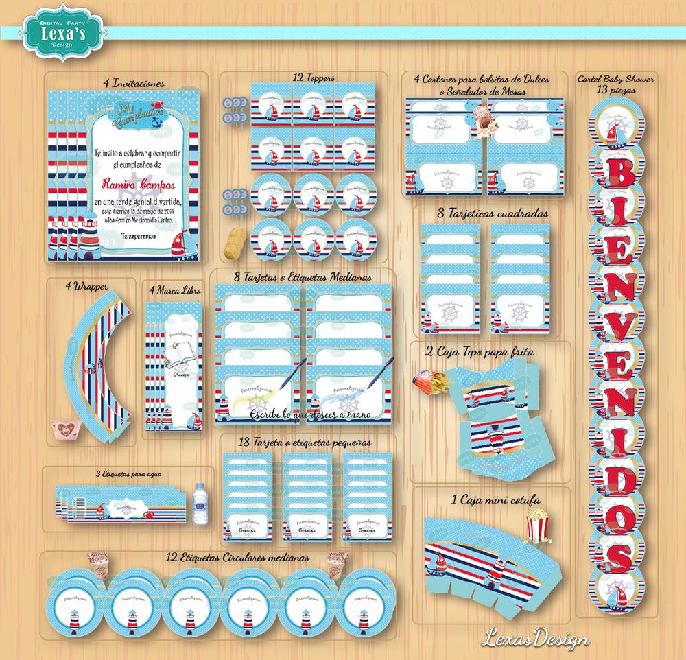 Kit imprimibles para fiestas Nautico gratis