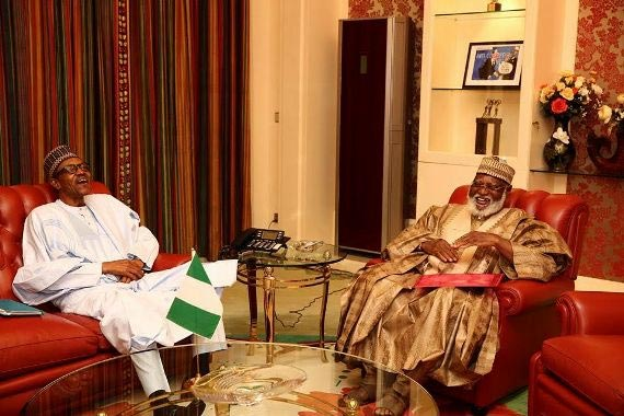 President Buhari and former Nigerian leader Abdulsalami Abubakar in Abuja closed door meeting today