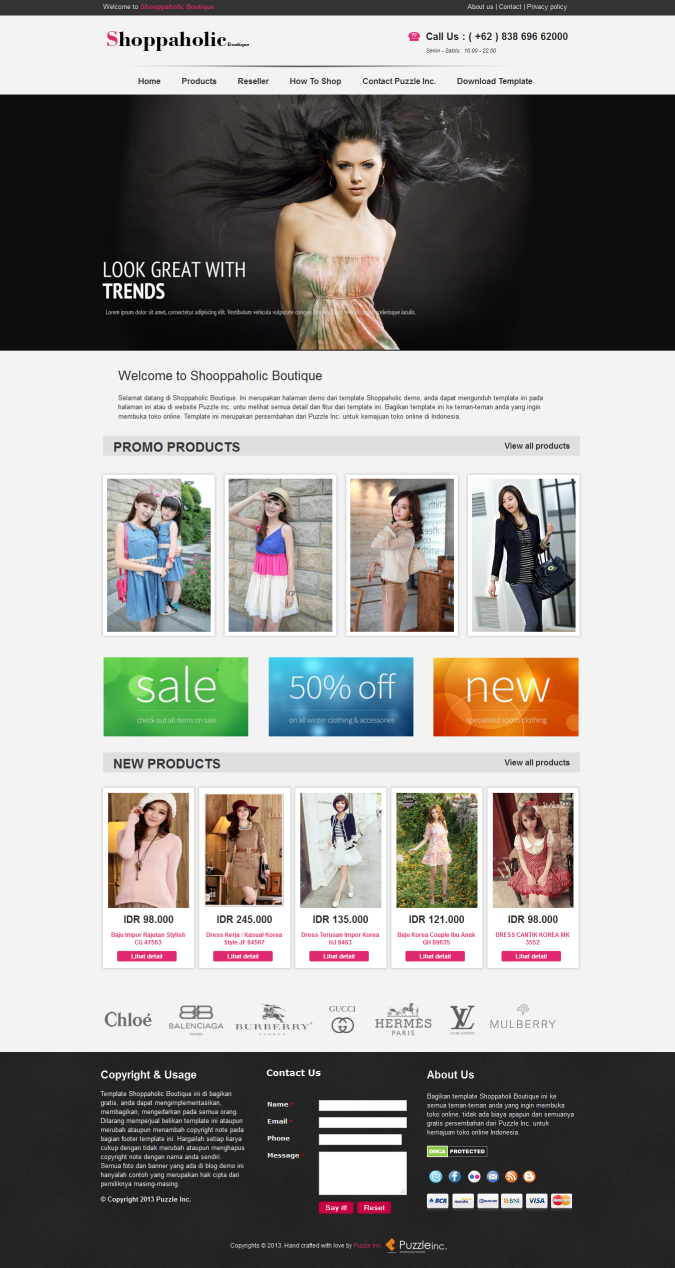 Shoppaholic Boutique Blogger Template