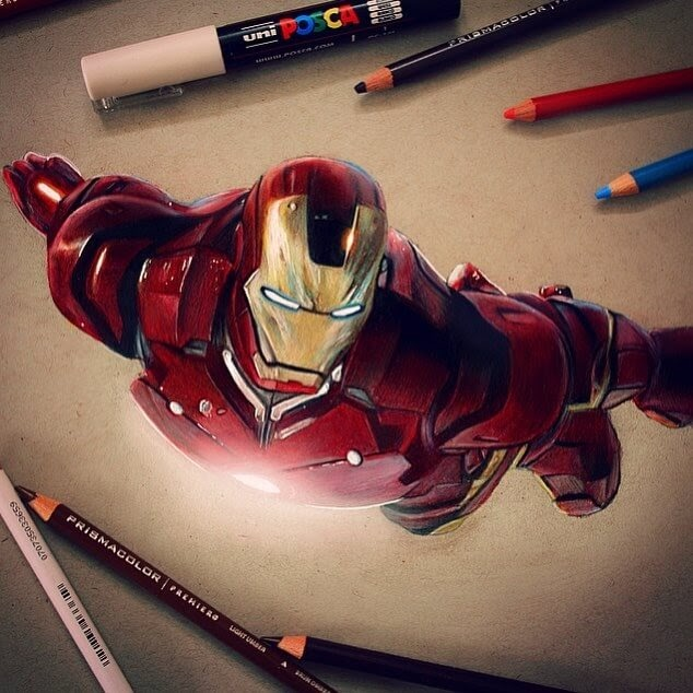 05-Iron-Man-Robert-Downey-Jr-Chris-Superhero-and-Villain-Realistic-Pencil-Drawings-www-designstack-co
