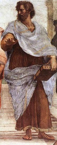 Rafaelova slika Aristotela koji drži Etiku