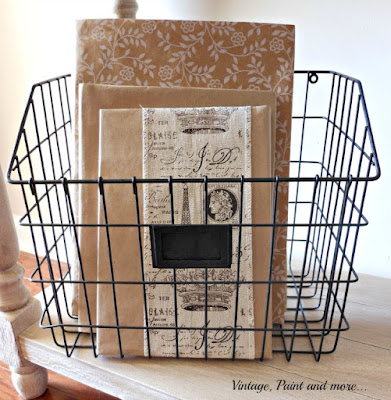 Vintage, Paint and more... wire basket with books with DIY book jackets