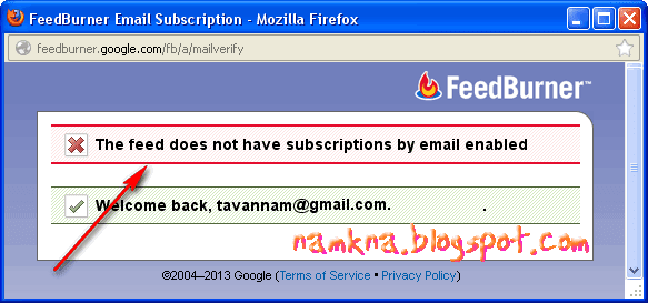 "Sửa lỗi ""The feed does not have subscriptions by email enabled"""