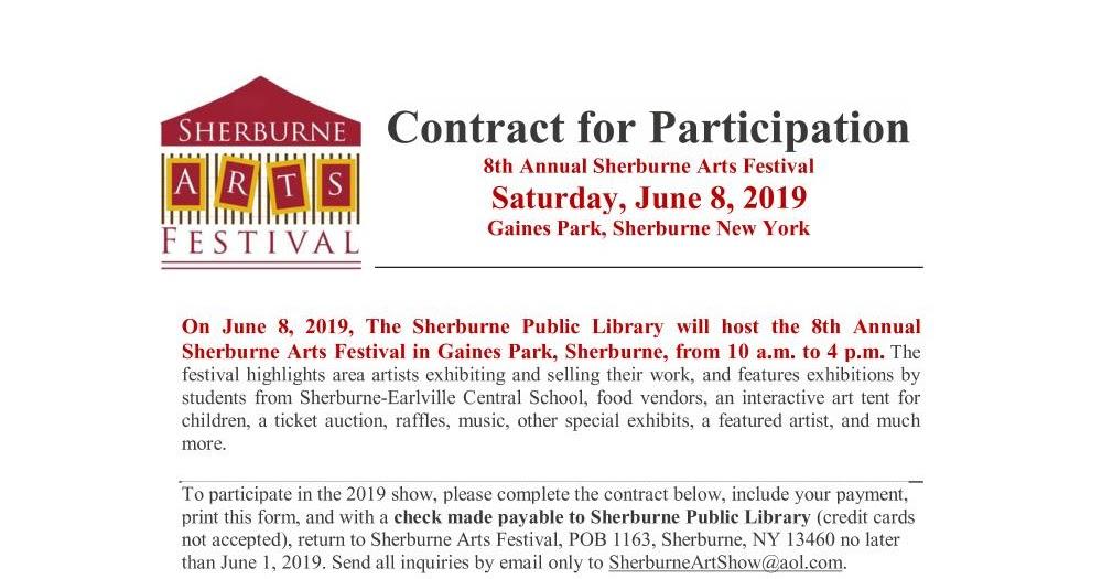 Sherburne Arts Festival: Application to Participate