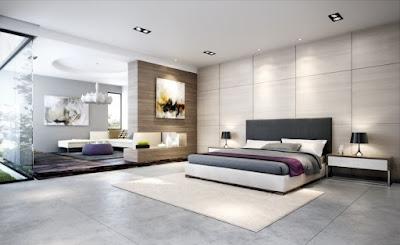 bedroom marble floor white minimalist