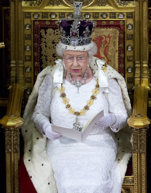 Queen Elizabeth II reads the Queen's Speech from the throne during State Opening of Parliament in the House of Lords at the Palace of Westminster