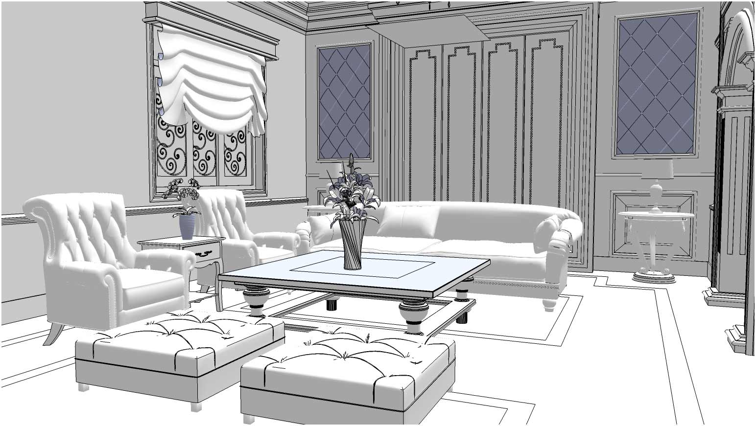 Free sketchup 3d model living room 13 vray sketchup tut for Living room designs 3d model
