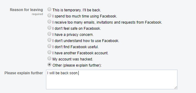 How to deactivate Facebook Account-- Reason for leaving