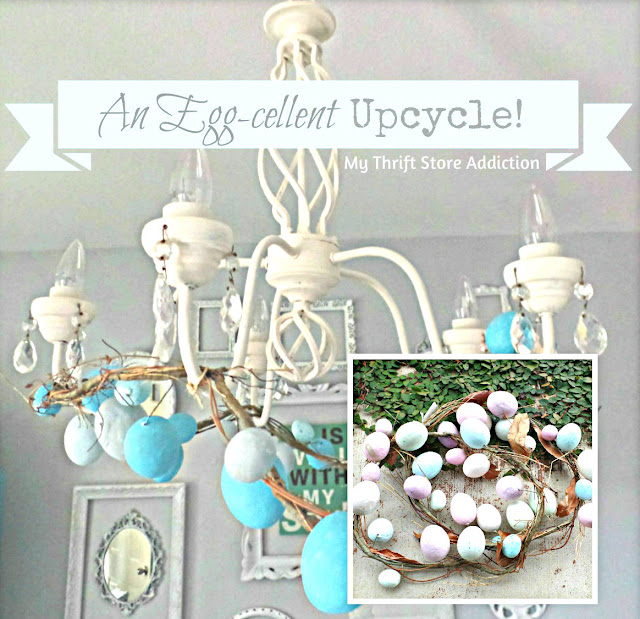 Upcycled egg garland chandelier