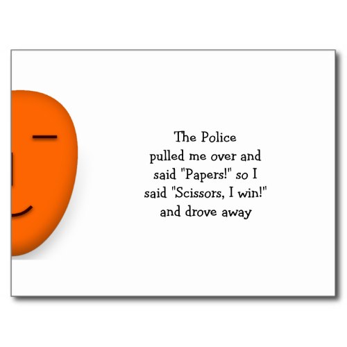 Police Rock Paper Scissors | Send a Smile Postcard