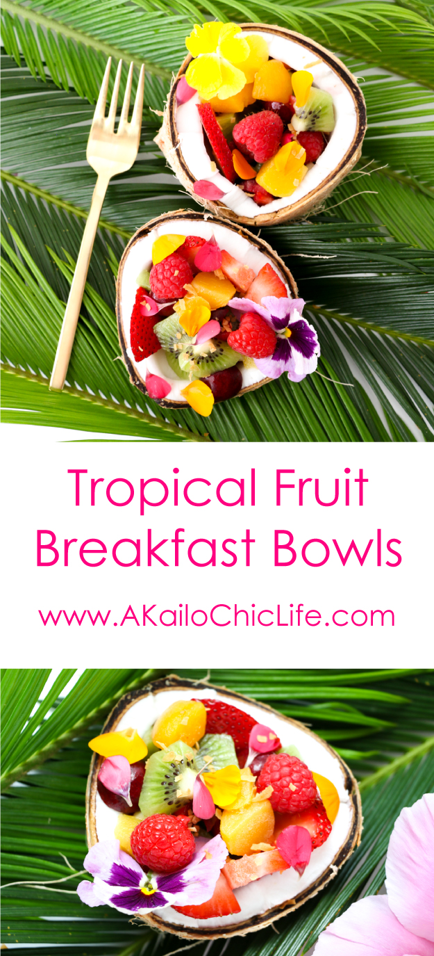 Tropical Fruit Smootie Breakfast Bowl Recipe topped with fresh fruit, chia seeds, hemp seeds, edible flowers, and coconut. These are the perfect easy summer breakfast, great brunch recipe