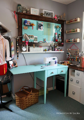 One Room Challenge Week 6 Home Office Sewing Craft Room Transformation sewing machine painted table sewing supply organization pegboard