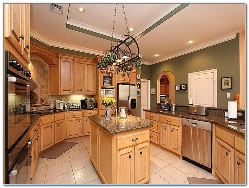 Country Kitchen With Oak Cabinets
