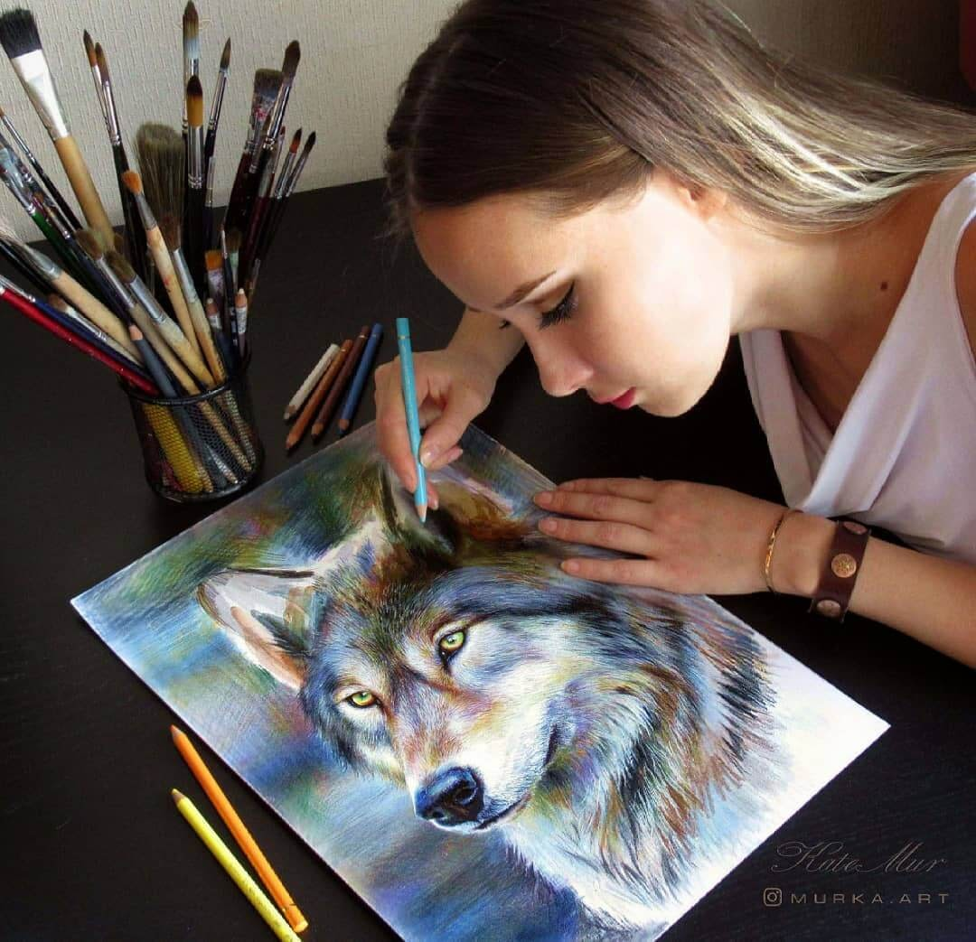 05-Wolf-Kate-Mur-Animal-Art-with-Pencil-Ballpoint-Pen-and-Paint-www-designstack-co