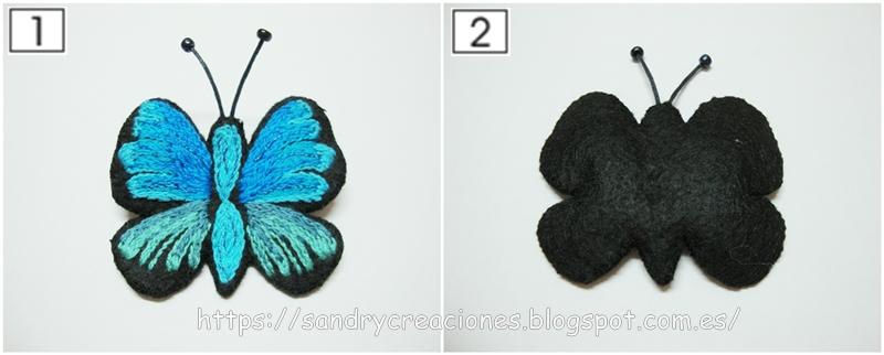 parte superior e inferior del broche mariposa una vez pegadas las dos partes de fieltro