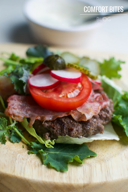 Buffalo Burger Stack with Lemon Dill Mayo Paleo Low Carb