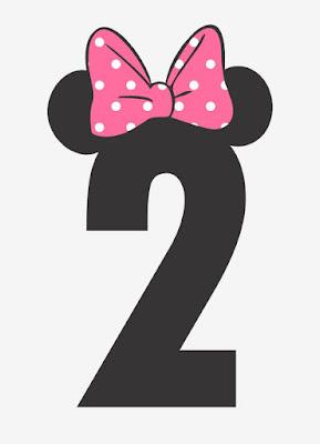 Numar de masa botez tematic Minnie Mouse cifre negre cu urechi si fundita roz
