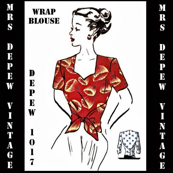 1940s wrap blouse sewing pattern pdf