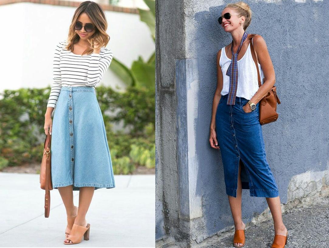 Trouxe 10 look s incríveis inspiração usando a saia jeans de botão a43e6887b5de9