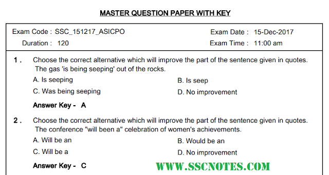 SSC CPO 2017 Paper-2 Question Paper Final Answer Keys PDF