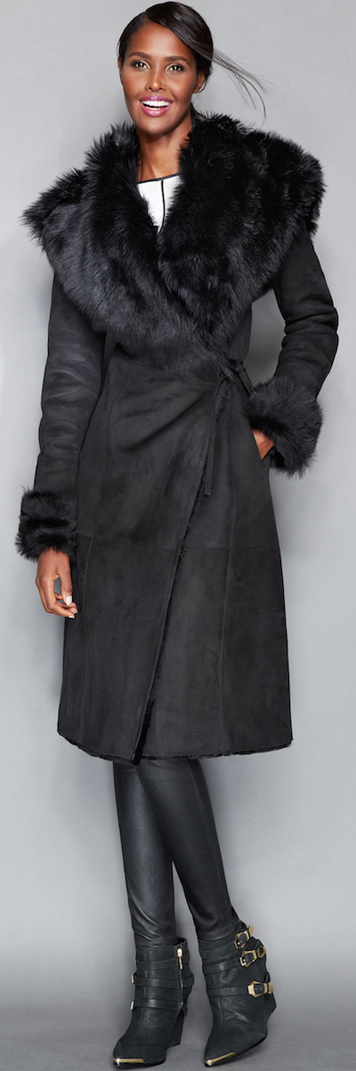 The Fur Vault Toscana Shearling Wrap Coat