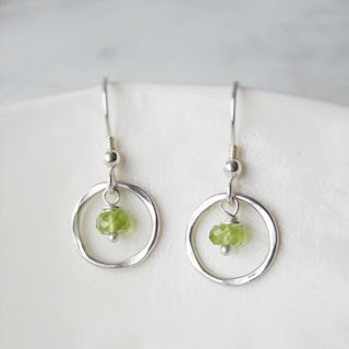 Peridot circle earrings from Not on the High Street
