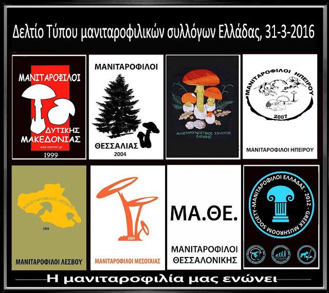 Δελτίο Τύπου μανιταροφιλικών συλλόγων Ελλάδας 31-3-2016