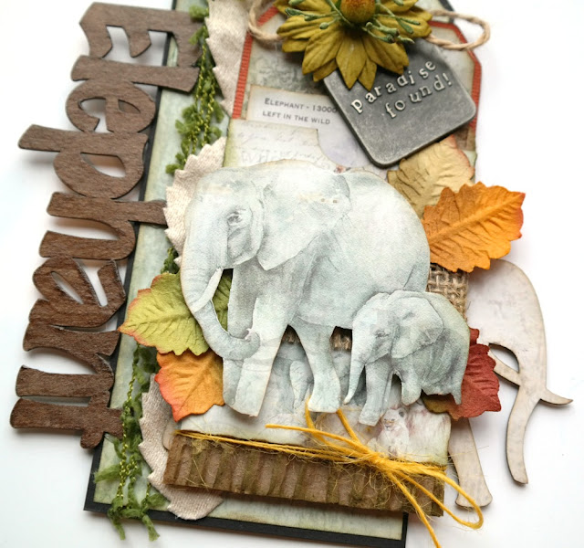 Elephant Mixed Media Tag by Dana Tatar for FabScraps - Call From The Wild Collection