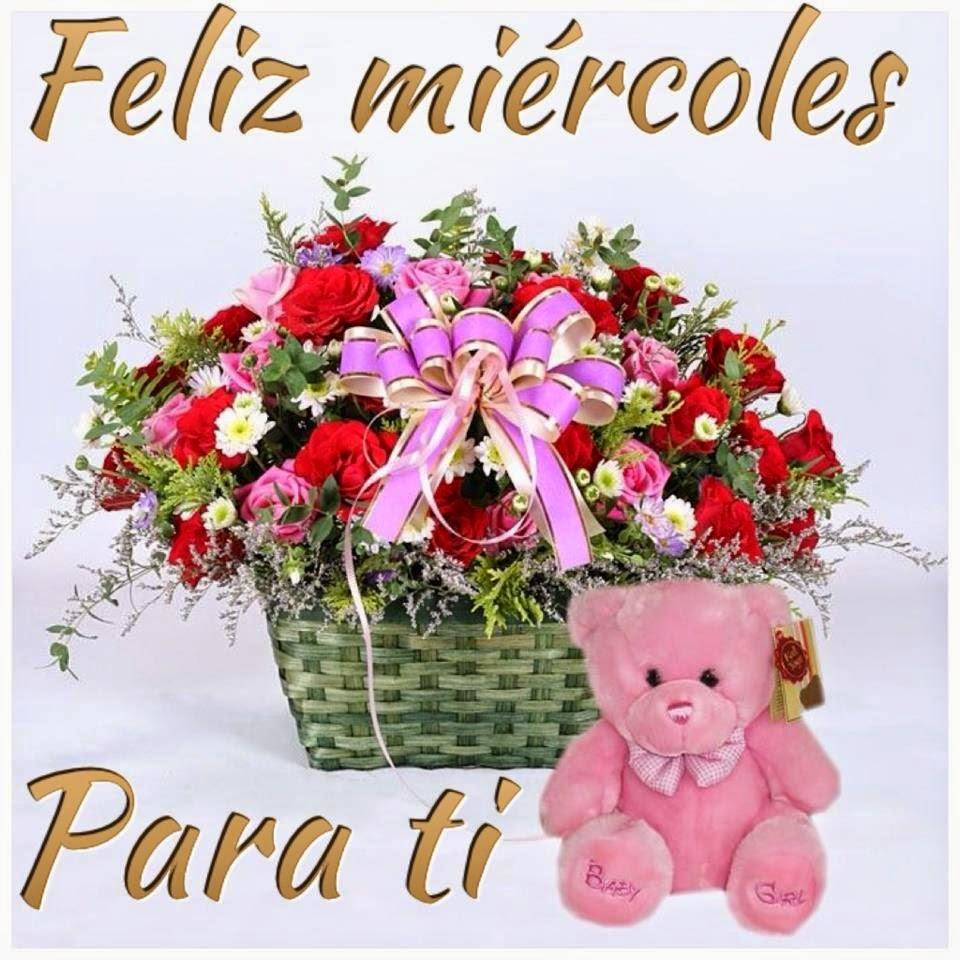 Feliz Miercoles con peluches y rosas
