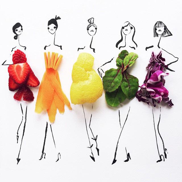 Ilustrador de moda usar coloridos artículos de comida para darle un toque final