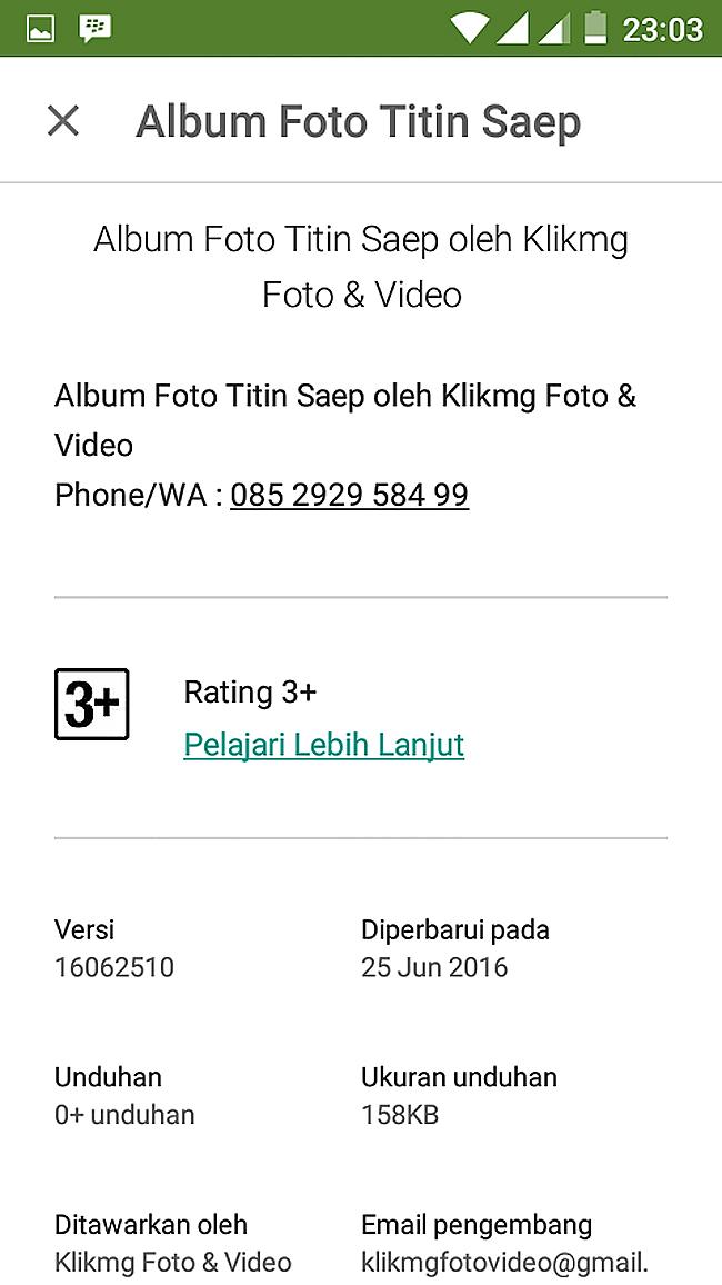 Aplikasi Play Store untuk Dokumentasi TITIN & SAEP bisa di unduh di Google Play Store - http://bit.ly/playstore-titin-saep