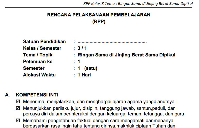RPP SD/MI Kelas III Semester 1 Kurikulum 2013 Tema 1 - 4 Format PDF