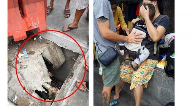 Lubang Jalan di Malioboro ini Tertutup Layaknya Jebakan, Sampai Ibu dan Anak ini Terperosok Hingga 1,5 Meter